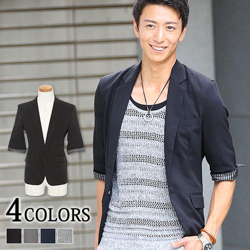 【送料無料】テーラードジャケット テーラード ジャケット 5分袖 カジュアル ブラック グレー M/L/LL/3L