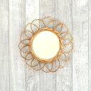 着後レビューで特典! アラログ フラワーミラー S/Creerラタンミラー 鏡 壁掛け アラログ ラタン インドネシア 籐製 か…