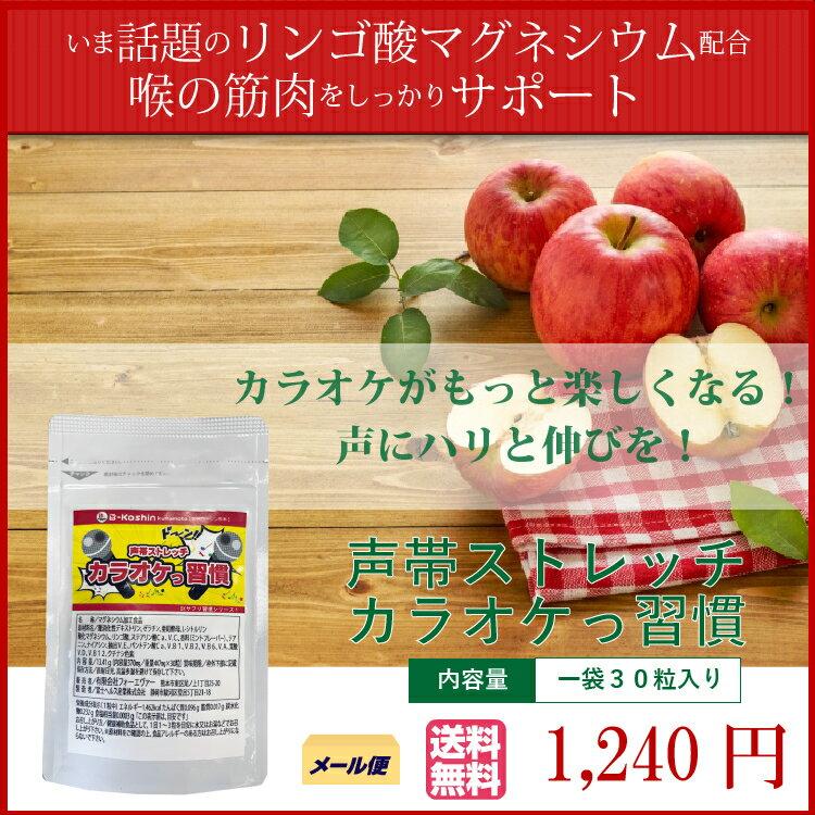 話題沸騰中の【リンゴ酸マグネシウム】配合!枯れ声やいびきの声帯筋ストレッチサプリ【カラオケ習慣】1袋30粒入り