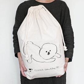 CLASKA クラスカ MAMBO マンボ コットン 巾着 L 巾着袋 ランドリーバッグ きんちゃく 洗える 収納 旅行 トラベルグッズ 衣類収納 ギフトバッグ ラッピング 包装 大 特大 塩川いづみ イラスト ビジョン・フリーゼ シンプル おしゃれ かわいい 日本製