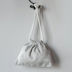 mercato オリジナル おじさん柄 きんちゃく袋 ホワイト【 巾着袋 mabo イラスト ポーチ きんちゃく 収納 旅行
