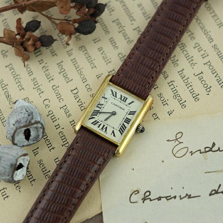 【 送料無料 】Cartier カルティエ アンティーク時計 タンク 【 レディース 手巻き 80年代 白文字盤 アイボリー 】