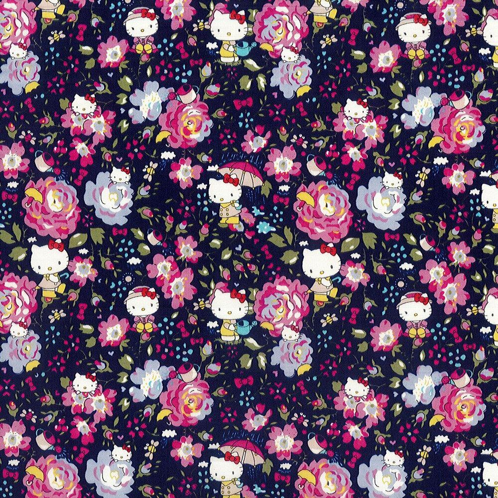 ハローキティ×リバティアートファブリック<Felicite Hello Kitty>(フェリシテ ハローキティ)【ネイビー】DC27904-J12B