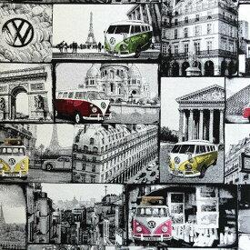 フォルクスワーゲンバス ジャガードダブルフェイス生地<Loves Paris>(ラブパリ)B&B FABRICS Volkswagen 2630-1015-655