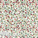 LIBERTYリバティプリント・国産タナローン生地<Berry Bouquet>(ベリーブーケ)【レッド&グリーン】DC31039-J20D