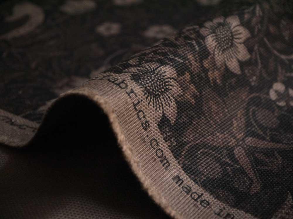 moda fabrics(モダ・ファブリックス)William Morris ウィリアムモリス オックス生地<Strawberry Thief>(ストロベリー・スィーフ)いちご泥棒<BLACK(ブラック)>8176-45T