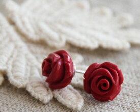 薔薇 ピアス イヤリング サンゴ 珊瑚 さんご コーラル バラ ばら ローズ 赤 レッド 花 女性 レディース ギフト プレゼント 小さめ メール便送料無料 あす楽対応 ギフトラッピング対応