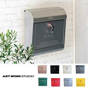 ポスト 郵便受け メールボックス 新聞受け 持ち手部分にロゴあり TK-2075 Mail box ポスト アートワークスタジオ ポスト 鍵付き 大容量 アメリカンデザイン おしゃれ 壁掛け U.S. Mail box ユーエス