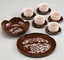 ほのぼのもてなし揃 華ざくら 日本製 湯呑み 湯のみ お盆 丸盆 茶托 菓子鉢 セット 宇野千代