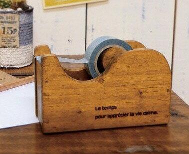 ミニテープカッター マスキングテープ対応 クレエ creer アンティーク風 91600154 木製 木 テープカッター おしゃれ デザイン セロハンテープ台 テープカッター セロテープ テープ台