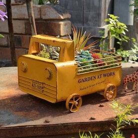 軽トラプランター イエロー AZ-1352 アンティーク風 azi-azi アジアジ プランターボックス セミサークルプランター プランター 鉢 エクステリア ガーデニング 庭