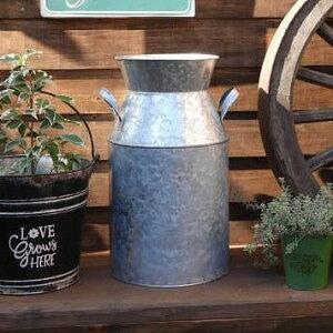 メタルミルクポット 鉢カバー ガーデンポット シルバー CA-1073 鉢カバー ブリキポット 鉢 ブリキ鉢 植木鉢 ブリキ プランター ガーデニング雑貨 アンティーク 鉢カバー おしゃれ かわいい