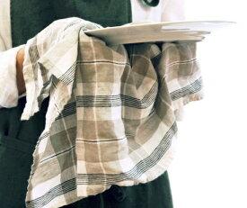 キッチンタオル リネン チェック ベージュ ブラック キッチンクロス キッチンワイプ 布巾 ふきん 台拭きスポンジワイプ