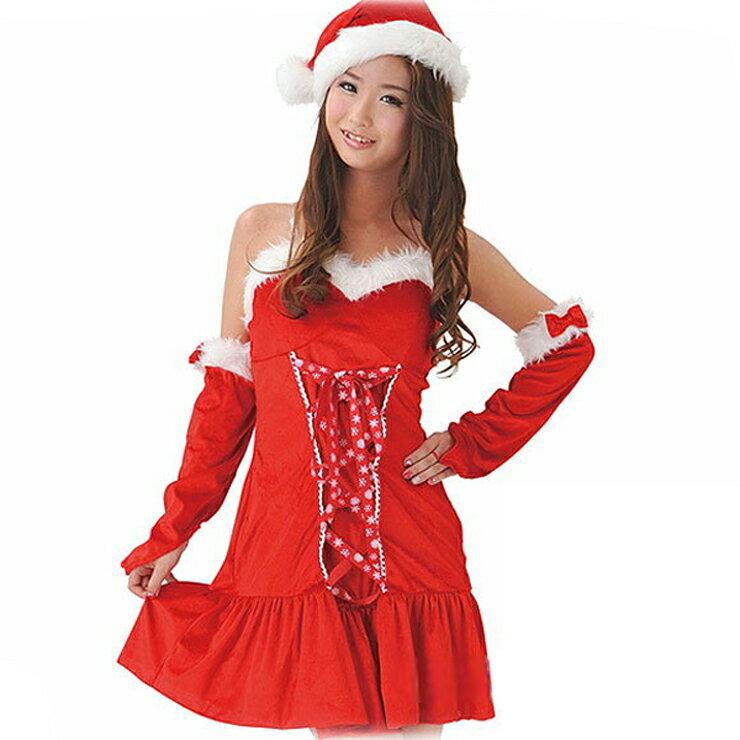 あす楽 (送料無料) ノルディックリボンサンタ Ladies D-XM12 帽子 ワンピース アームウォーマー セット レディース クリスマス 仮装衣装 コスプレ