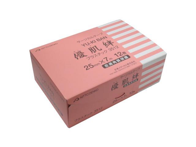ニトリート サージカルテープ 優肌絆 プラスチック 3512 幅25mmx長さ7m 1箱12巻入 ニトムズ【条件付返品可】