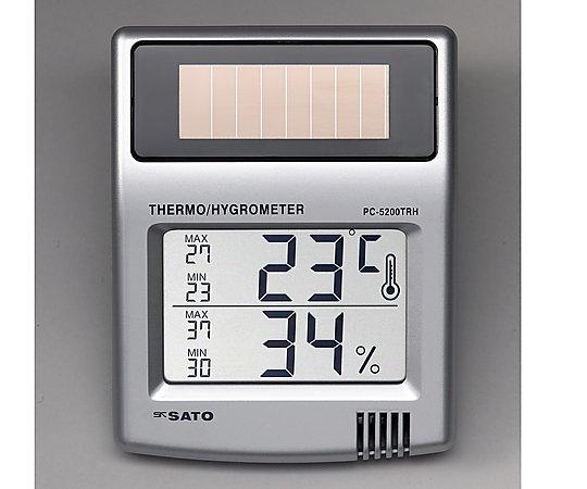 ソーラーデジタル温湿度計 PC-5200TRH 1台【条件付返品可】