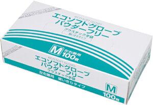 エコソフトグローブ パウダーフリー OM-370 Mサイズ 1箱100枚 プラスチック手袋 オカモト【返品不可】