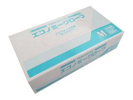 プラスチック手袋 エコノミーグローブ(粉あり) Mサイズ YG-100-2 100枚/箱 プラスチックグローブ【返品不可】