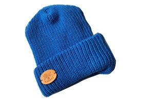 イルビゾンテ ILBISONTE ニット帽 ニットキャップ ブルー アクリルリブ編み