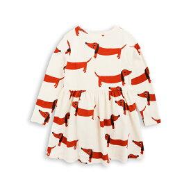 mini rodini ミニロディーニ ダックスフント ワンピース オフホワイト(DOG LS DRESS)