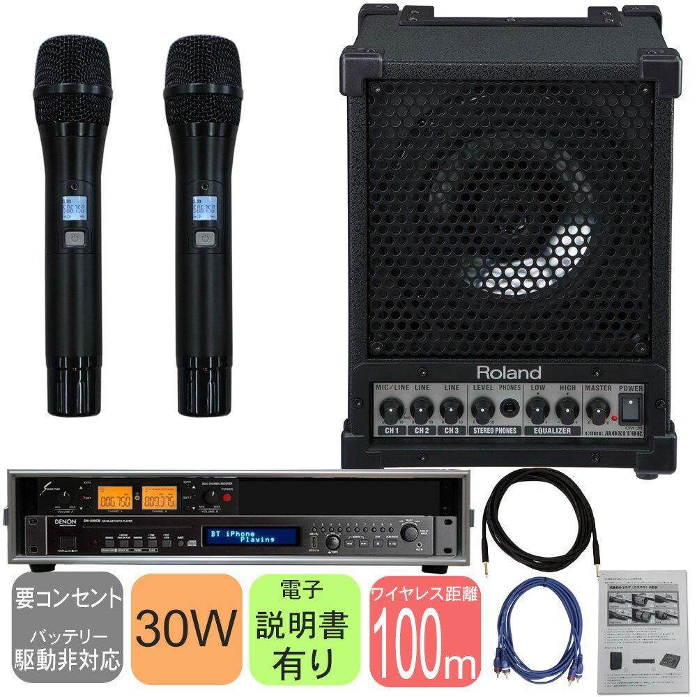 【送料無料】Roland 出力30W簡易PAセット ワイヤレスマイク2本+CD Bluetooth再生セット【ラッキーシール対応】