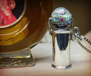 K&D 万華鏡 カレイドスコープ シルバー925 ネックレス ペンダント ブルーベネチアングラス ユニセックス ベネチアングラスの中にに細かく散りばめられたカラー 品質保証書付