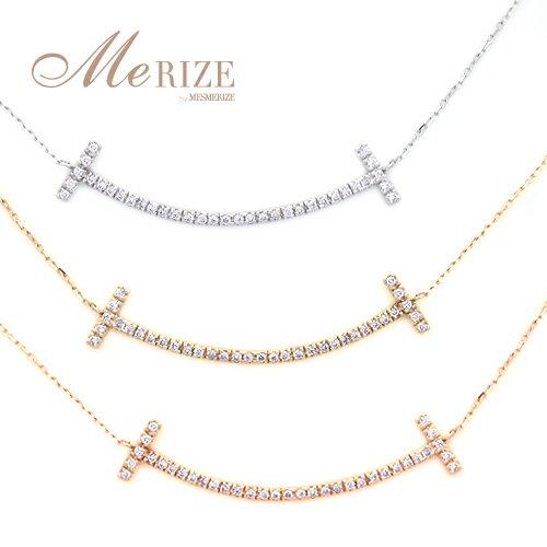 K18 YG/WG/PG 天然ダイヤ ゴールド スマイル ネックレス - ダイヤモンド を 18金地金に35石 贅沢にセット。キュートなフォルムはあなたを女性らしいソフトな印象へ。