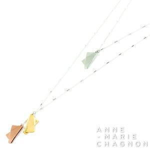 小ぶりな シンプル デザイン ロング & ツイン ネックレス 金属アレルギーを起こしにくい素材でお肌にやさしい アンマリーシャニョン ブランド レディース アクセサリー 22K ゴールド シルバ