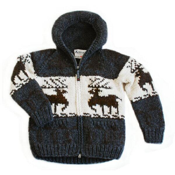 人気[送料無料]フード付きメンズ&レディースカウチンセーター/ダークグレーKANATAが紡ぐ伝統の一着。手編みでしっかり編み込んだカナダ製オリジナルカウチンセーター。世界有数カウチンメーカー/カナタ鹿柄(ディアー)