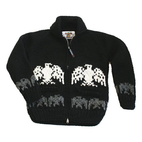 ★今売れてます!★■送料無料■■【ブラックカウチンセーター/メンズ&レディース】世界有数カウチンメーカー[KANATA]が紡ぐ伝統の一着。手編みでしっかり編みこんだ、カナダ製オリジナル[イーグル柄(鷲柄)]