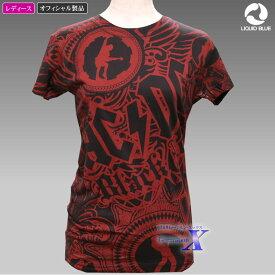 AC/DCレディースTシャツ(レッド・ブラック)リキッドブルー製