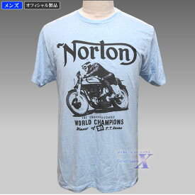 【ノートンバイク・オフィシャルTシャツ】メンズ/ライトブルー