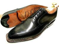 【新品】ナポリターノラケーレ革靴61/225.5cm黒ブラック系ノルヴェイジャン製法ダービーアンティーク加工