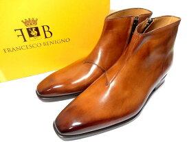 【新品】フランチェスコベニーニョ パティーヌ サイドジップ ブーツ 7 1/2 26.5cm プレーントゥ 茶 ブラウン