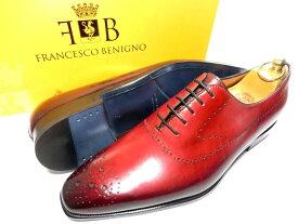 【新品】フランチェスコベニーニョ パティーヌ 革靴 7 26cm 赤 パーフォレーション ワンピース ホールカット