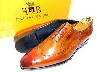 【新品】フランチェスコベニーニョパティーヌ革靴61/225.5cmパーフォレーションワンピースホールカット茶系