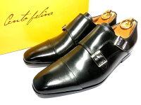 【新品】チェントフェリーナダブルモンク革靴624.5cm黒ブラックストレートチップ黒ストレベルソ仕立て