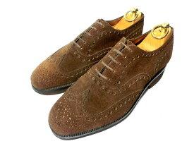 【中古】JMウエストン 革靴 51/2 E 24.5 ウイングチップ焦げ茶 ダークブラウン ビジネスシューズ WESTON J.M. Weston