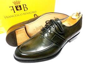 【新品】フランチェスコベニーニョ パティーヌ 革靴 7 26cm オリーブ ダークグリーン Uチップ