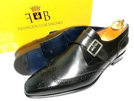 【新品】フランチェスコベニーニョ パティーヌ 革靴 71/2 26.5cm アンティークブラック シングルモンク / 黒