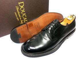 【新品】DOUCAL'S ホースレザー 革靴 41 26〜26.5cm 黒 ブラック 外羽根 プレーントゥ ドゥーカルス デュカルス
