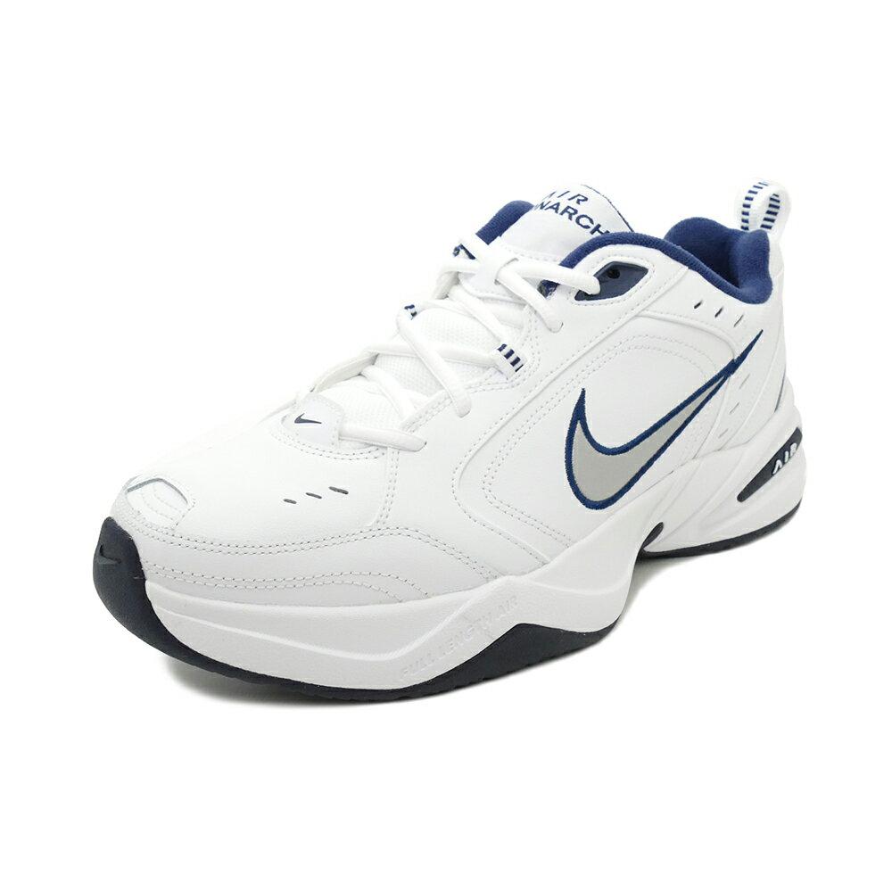 スニーカー ナイキ NIKE エアモナーク4 ホワイト/シルバー/ネイビー メンズ レディース シューズ 靴 18HO