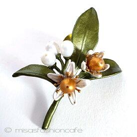 真珠シトラスの花ブローチ ラペルピンパール  フラワー ボタニカルジュエリーギフト プレゼント お呼ばれ フラワーモチーフ 植物モチーフ お祝い セレモニー コサージュ アクセサリー