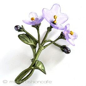 真珠スミレの花ブローチ パール  フラワー すみれ ボタニカルジュエリーギフト プレゼント お呼ばれ フラワーモチーフ 植物モチーフ お祝い セレモニー コサージュ アクセサリー