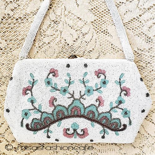 ヴィンテージ刺繍バッグ ベルギー製 Saks5thAve   ハンドバッグ 【 アンティーク・ヴィンテージ バッグ 】 vintage ビンテージ 【海外直輸入USED品】