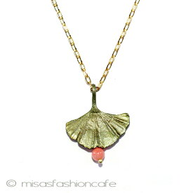 MichaelMichaud (マイケルミショー) ネックレス 珊瑚 イチョウの葉サンゴ 銀杏 MADE IN USA