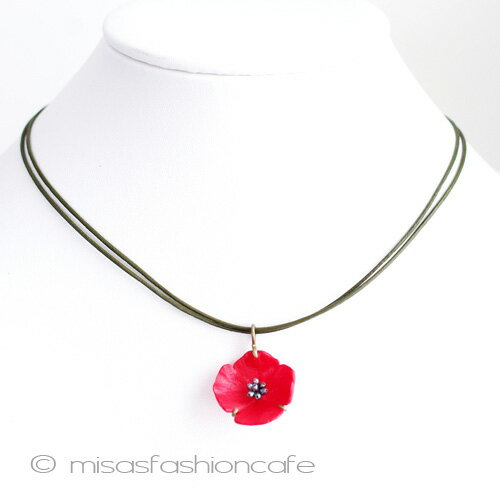 MichaelMichaud (マイケルミショー) ネックレス 真珠 赤いポピーの花  フラワー 植物モチーフ アクセサリー ジュエリー ギフト プレゼント  MADE IN USA