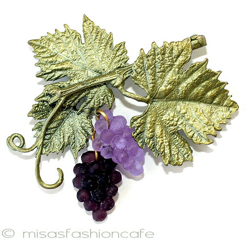 MichaelMichaud (マイケルミショー) ブローチ 揺れるアートガラスの葡萄 ぶどう ブドウ ギフト プレゼント