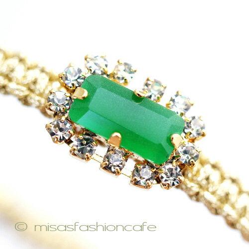 TAI (タイ) ブレスレット ビジュー・グリーン ビジューミサンガTai Jewelry タイジュエリー シルクコード