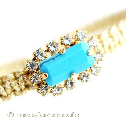 TAI (タイ) ブレスレット ビジュー・ターコイズ ビジューミサンガTai Jewelry タイジュエリー シルクコード